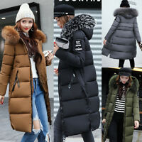 Winter Women's Lady Long Down Cotton Parka Fur Collar Hooded Coat Quilted Jacket