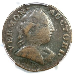 1788 RR-36 R-6 PCGS F Details Bust Right Vermont Colonial Copper Coin 1c