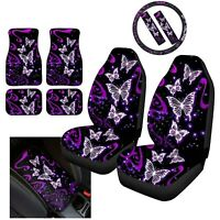 10 Pack Butterfly Car Seat Covers With Steering Wheel Cover Floor Mats Full Set