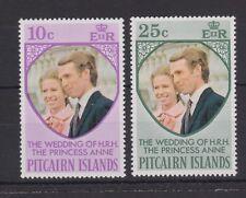 1973 Royal Wedding Princess Anne MNH Stamp Set Pitcairn Islands SG 131-132