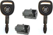 2 NEW GM OEM Black Door Key Lock Cylinder W/2 CADILLAC LOGO KEYS TO MATCH 706592