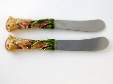 Pair of Enamel Flower Cheese Knives Rhinestone Spreader Stainless Steel Blade