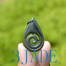 Nephrite Jade Koru Tear Drop Pendant New Zealand Maori Design Necklace Jewelry