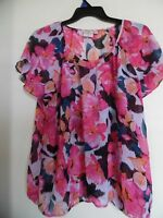 St. John's Bay Womens Sheer Multi Floral 3/4 Sleeve Tunic Top Plus Size 2X