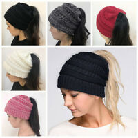 Women Stretch Knit Ski Hat Messy Bun Ponytail Beanie Holey Warm Hats Winter Caps