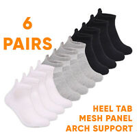 6 Pairs Mens Sports Socks Ankle Trainer Liner Cotton Rich Black White UK 6-11