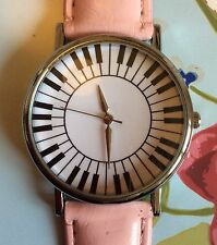 Pink Faux Leather Strap Quirky Women Wrist Watch Music Piano Ladies Xmas
