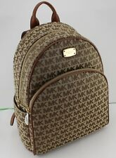 NEW AUTHENTIC MICHAEL KORS ABBEY BROWN LARGE LG JACQUARD BACKPACK HANDBAG WOMENS