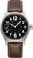 H69619533 Hamilton Khaki Field Brown Leather Black Dial Mens Watch Manual