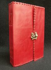 Handmade RED Leather Diary Journal Sketchbook Notebook - with Brass Fastening