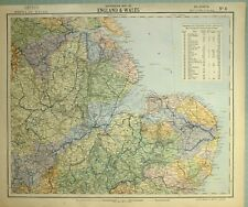 1881 LETTS MAP ENGLAND & WALES LINCOLN LEICESTER NORTHAMPTON CAMBRIDGE
