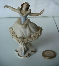 FIGURINE PORCELAINE GERMANY DANSEUSE GERMAN PORCELAIN LACE BALLERINA FIGURE
