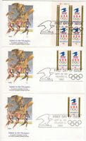 SSS: 3 pcs  US Fleetwood FDC 1991 $1 USPS and Olympics Rings  PB4  Sc #2539