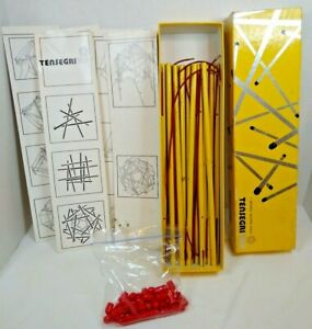 Tensegritoy 1985  Yellow 30 Struts 32 Cords  57 Red Caps Instruction Box Wear