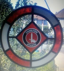 Charlton Athletic glass window hanging / suncatcher.  Plus leather fob Keyring