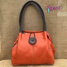 Ladies Orange Faux Leather Big Button Fashion Shoulder Bag Handbag