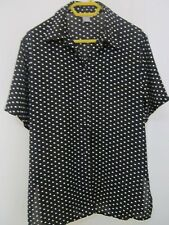 BLACK AND WHITE POLKA DOT  SHORT SLEEVED BLOUSE SIZE S [APPROX 12]