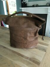 Furla Mock Croc Brown Leather Shoulder Bag
