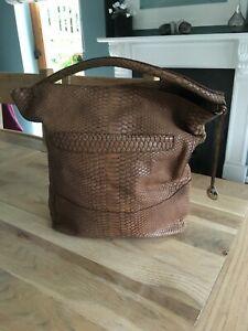 Furla Mock Croc Brown Leather Shoulder Bag