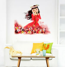 5700077 | Wall Stickers Cartoon Baby in Flower Garden Listening Music