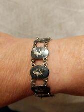 "Vintage Sterling Silver  Bracelet 7"" long 12 Grams Oriental Siam Female Dancer"