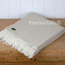 KNEE RUG / SMALL THROW Pure New Wool OATMEAL Beige Honeycomb Weave Chair Travel
