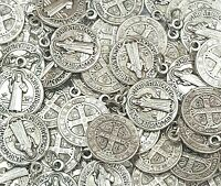 Lot Bulk 50 Pcs Silver Tone St Benedict Medals Charms-Blessed by Pope on request