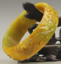 Old natural yellow jadite bangle hand-carved dragon and phenix jade Bracelet