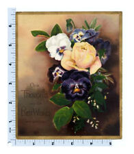 Victorian Greeting Card   Best Wishes   Pansies and Roses   Prang 1881