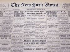 1947 DEC 26 NEW YORK TIMES - SCIENTISTS GROW AN AGENT CAUSING ONE COLD - NT 117