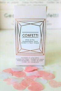 WEDDING CONFETTI BIODEGRADABLE TISSUE PAPER HEARTS GEO BLUSH PINK & WHITE BOXED