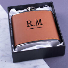 Personalised Steel + PU Leather Effect 6oz Hip Flask Engraving With Gift Box