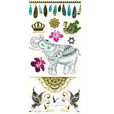 Temporäre Tattoos Elefant Mehndi Indisch Krone Design Temporary Klebetattoo