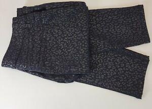 Nine West Womens Size 12 30 x 28 Black Leopard Skinny Pants