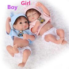 Boy Girl Set Doll Mohair  Body Silicone Reborn Baby Soft Newborn Bath Gift