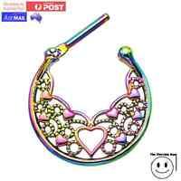 G23 Titanium Septum Ring Clicker Hoop with Floral Heart Pattern Lattice Rainbow