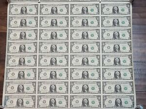 2009 UNCIRCULATED US $1 UNCUT SHEET OF 32 NOTES - SHIPPED IN TUBE