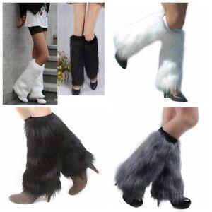 Ladies Fashion Boot Cuff Fluffy Soft Furry Faux Fur Leg Warmer Boot Toppers 40cm
