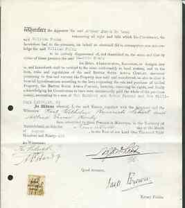 RHODESIA 1896 DEED OF TRANSFER INTERESTING ITEM!