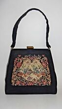 Vintage Antique Petit Needlepoint Tapestry Handbag / Purse Black with Floral