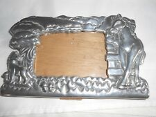 metal, pewter? 3.5 x 5 picture frame with horse and colt
