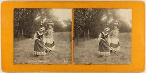 FRANCE Scène de genre La Cigale et la Fourmic1890 Photo Stereo Vintage PLn1