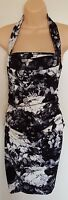 Suzi Chin Maggy Dress SZ 2 Ruched Bodycon Pin Up Black White Halter VLV Tiki