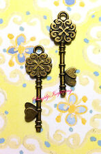 New ✿ 2 Ornate Metal Heart Key Embellishments ✿ For Scrapbooking & Cards ✿