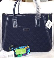 VERA BRADLEY TRAPEZE TOTE Classic Navy Microfiber & FREE  Zip ID Tag, NWT