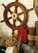 "18"" Antique Wooden Ship's Steering Wheel Pirate Decor Wood Brass Wall Wheel"