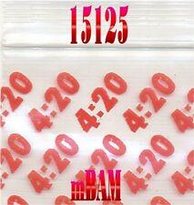 "100 PACK 15125 RED 4:20s Apple Ziplock Baggies 1.5x1.25"" Mini POLYBAGGIES"