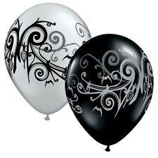"GOTH SCROLL BALLOONS 10 x 11"" QUALATEX HALLOWEEN BLACK & SILVER BALLOONS"