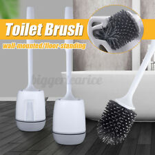 Toilet Brush Silicone Soft Bristle Base Cleaning Tool Set Bathroom With Holder
