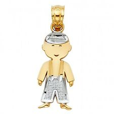14K Two Tone Gold Boy Charm Pendant GJPT665